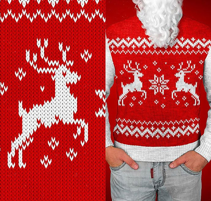 Christmas-Sweater - 30+ Embroidery Effect Photoshop Actions & Brushes