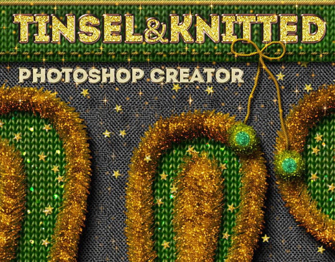 Christmas-Tinsel-and-Knitted - 30+ Embroidery Effect Photoshop Actions & Brushes