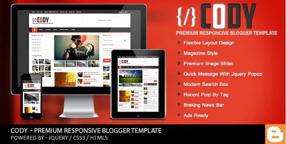Cody - 35+ Best Stunning Blogger One Page Template [year]
