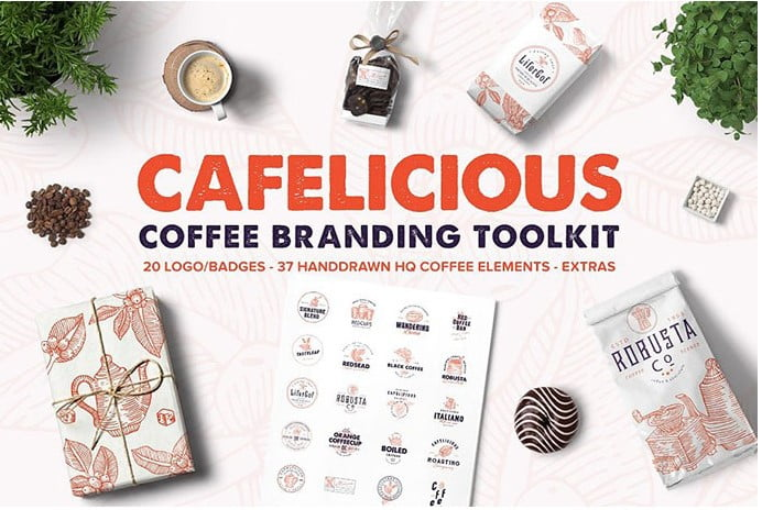 Coffee-Logo-Kit - 30+ Amazing Hand Drawn Badge Logo Design Templates [year]