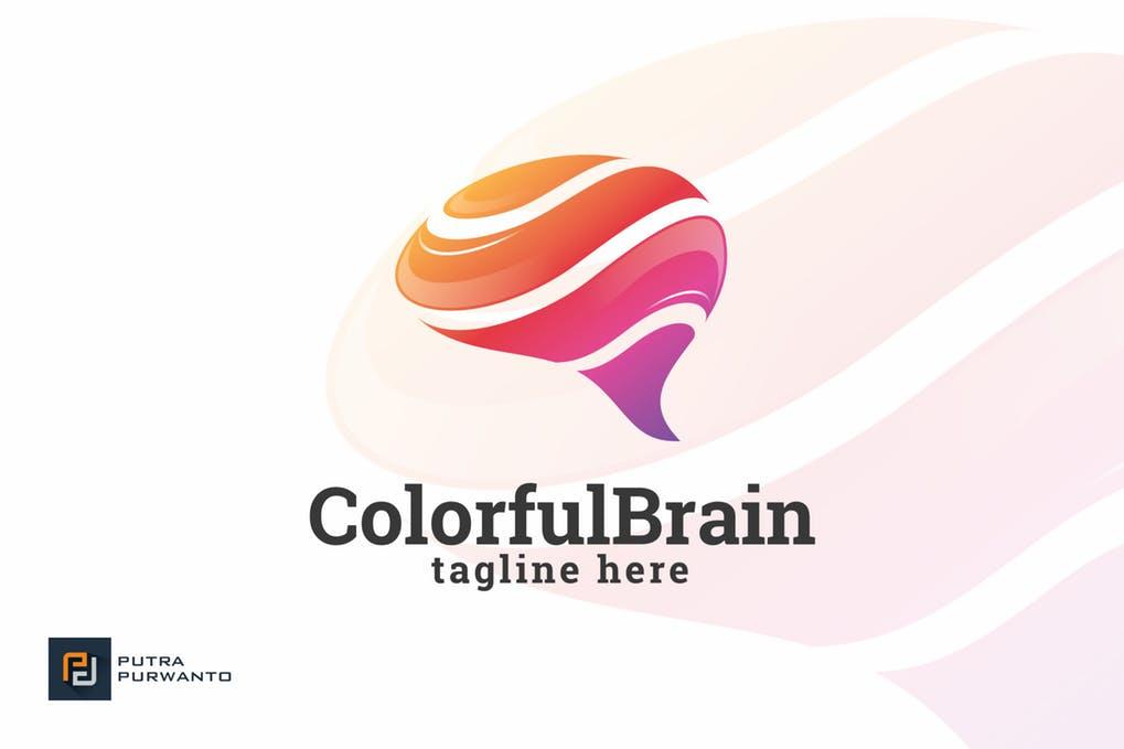 Colorful-Brain-Logo-Template - 35+ Glamor 3D Flat Logo Design Templates