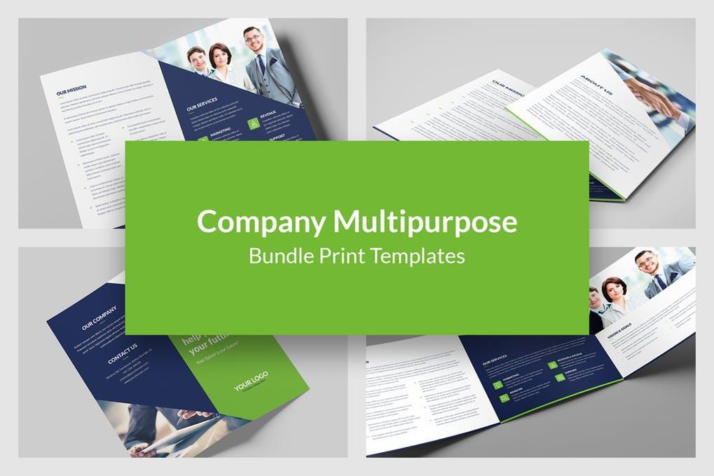 Company-–-Brochures-Bundle-Print-Templates-5-in-1 - 60+ Bi-fold & Tri-fold Brochure Design Templates [year]