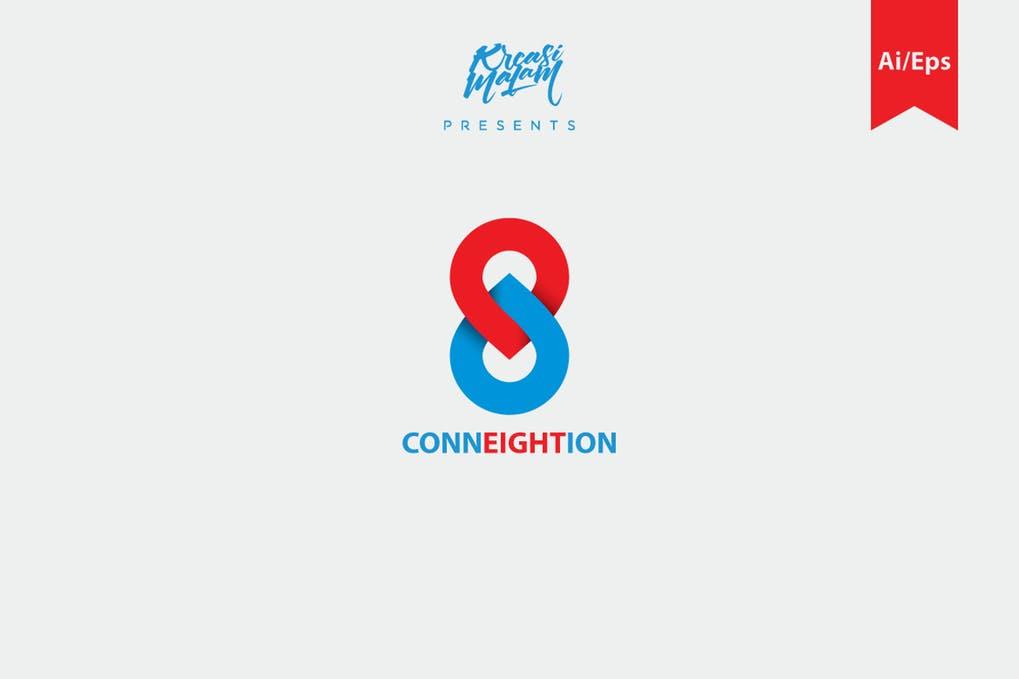 Conneightion-Logo-Template - 35+ Glamor 3D Flat Logo Design Templates