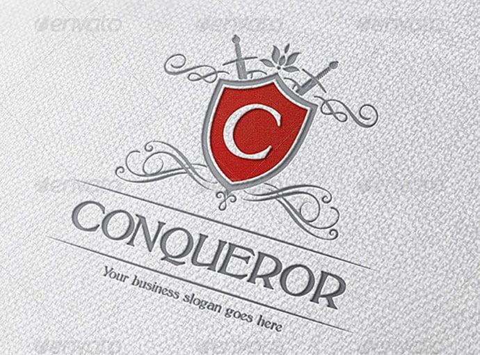 Conqueror-Crest-Logo - 35+ Amazing Heraldry Logo Design Templates [year]