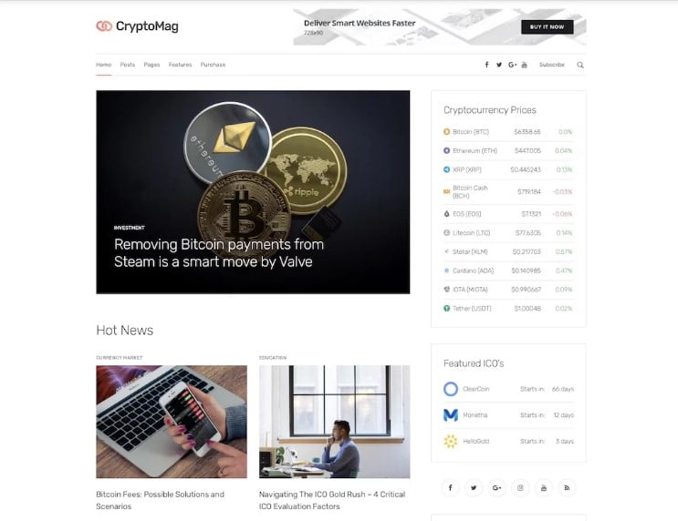 CryptoMag - 35+ Best Responsive News Website Templates [year]