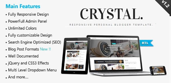 Crystal - 35+ Amazing One Page Inventive Blogger Template [year]
