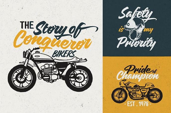 Custom-Motorcycle-Culture-Logo - 30+ Amazing Hand Drawn Badge Logo Design Templates [year]