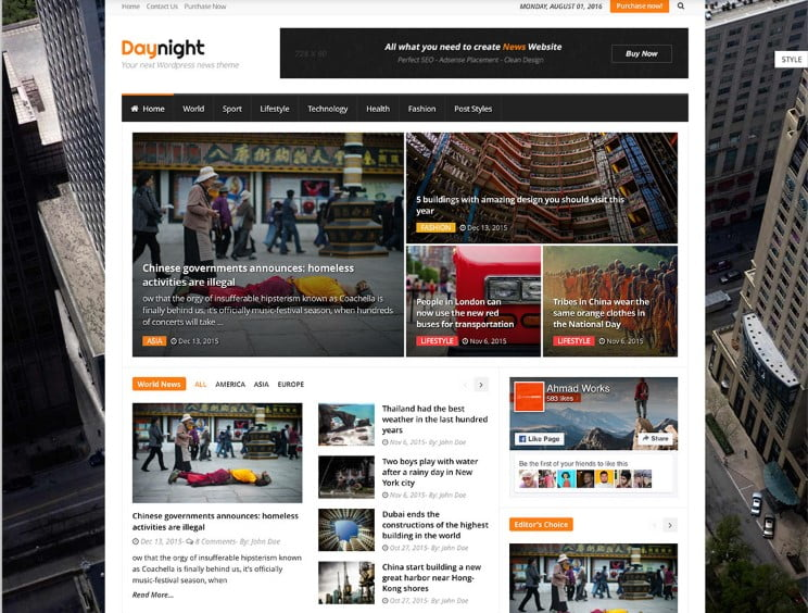 Daynight - Top 60+ News Magazine WordPress Themes [year]