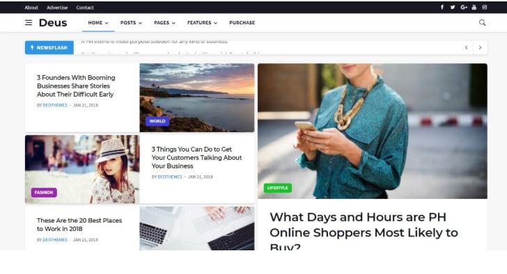 Deus-1 - 45+ Responsive News Website Templates [year]