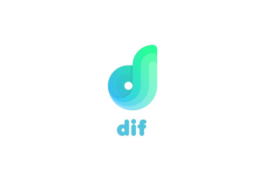 Dif-D-letter-logo - 35+ Glamor 3D Flat Logo Design Templates