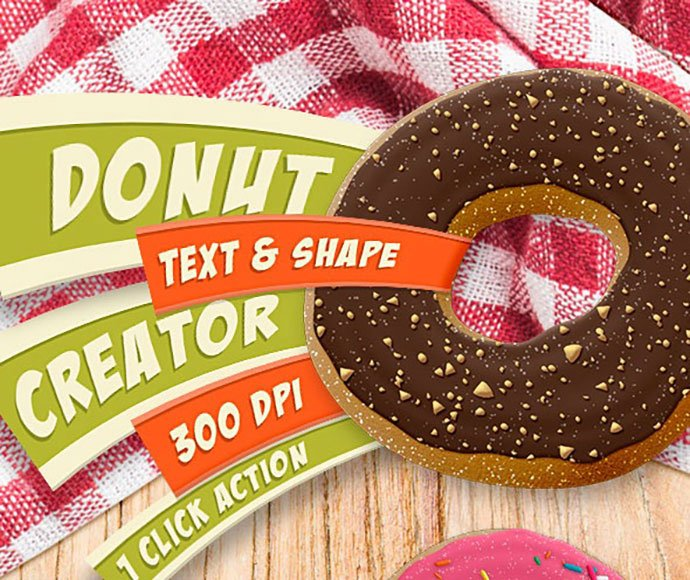 Donut-Creator-Text-and-Shape-Action-300-DPI - 35+ Tasty Food & Drink Photoshop Text Effects