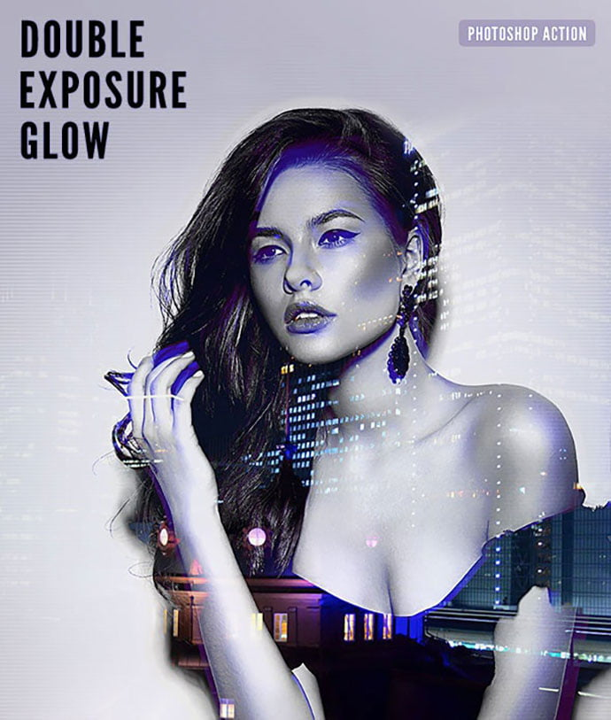 Double-Exposure-Glow-Photoshop-Action - 35+ Attractive Glow Effect Photoshop Actions