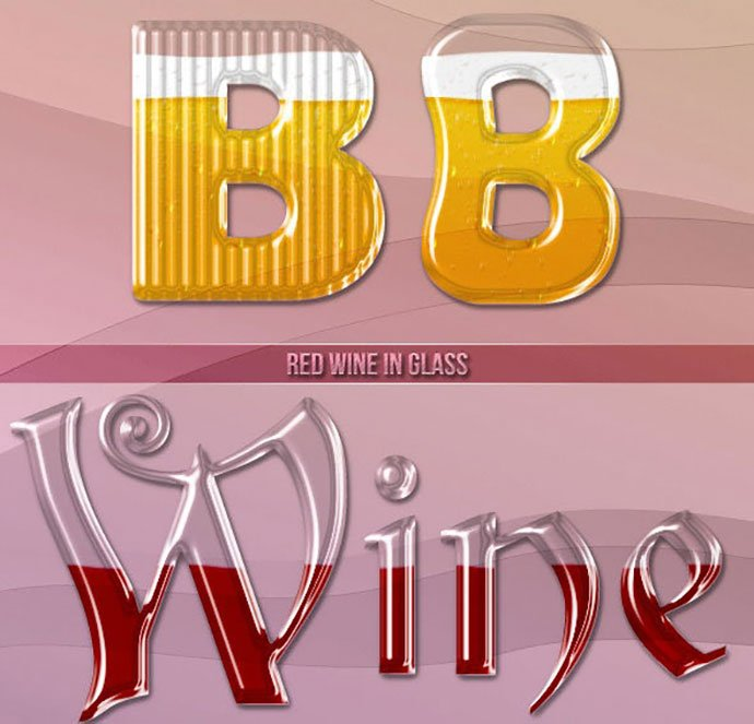 Drinks-In-Glass-Photoshop-Styles - 35+ Tasty Food & Drink Photoshop Text Effects