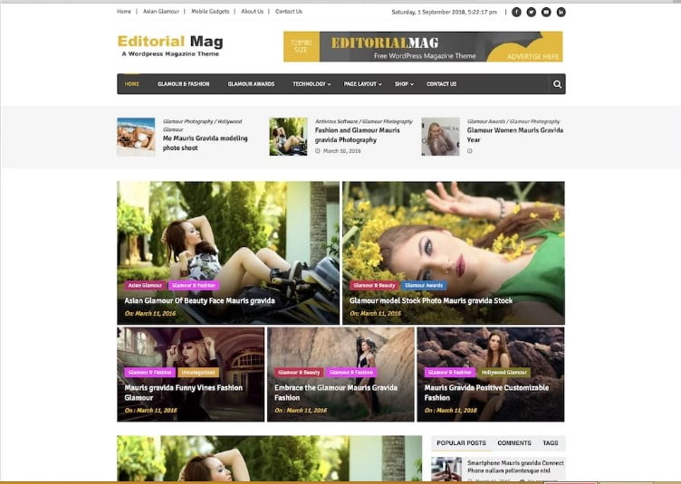 Editorial-Mag - 42+ Best Free News Website Templates [year]