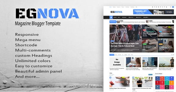 Egnova - 35+ Best Stunning Blogger One Page Template [year]