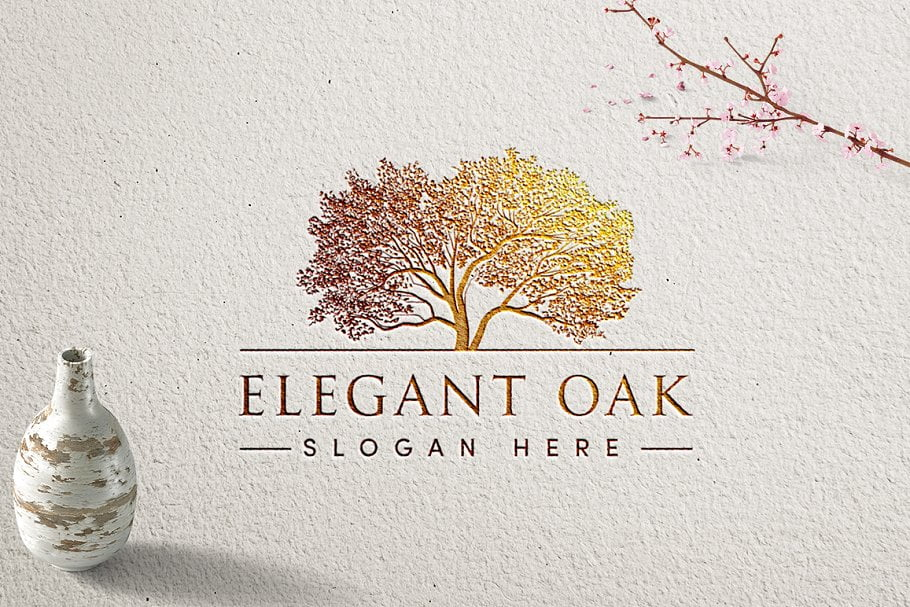 Elegant-Oak - 60+ Strong Tree Logo Design Templates [year]