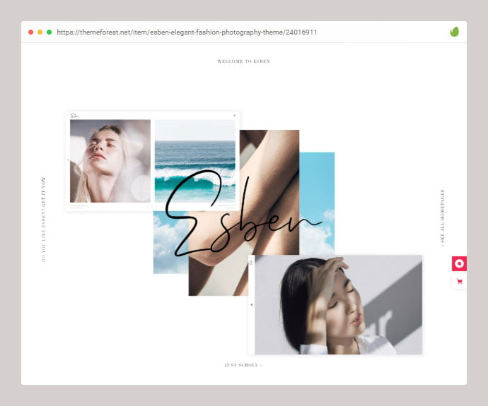 Esben - 35+ Minimal WordPress Theme Designs For Creatives [year]