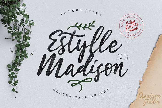 Estylle-Madison-Calligraphy - 52+ Wonderful Fonts for Calligraphy Logo Design [year]