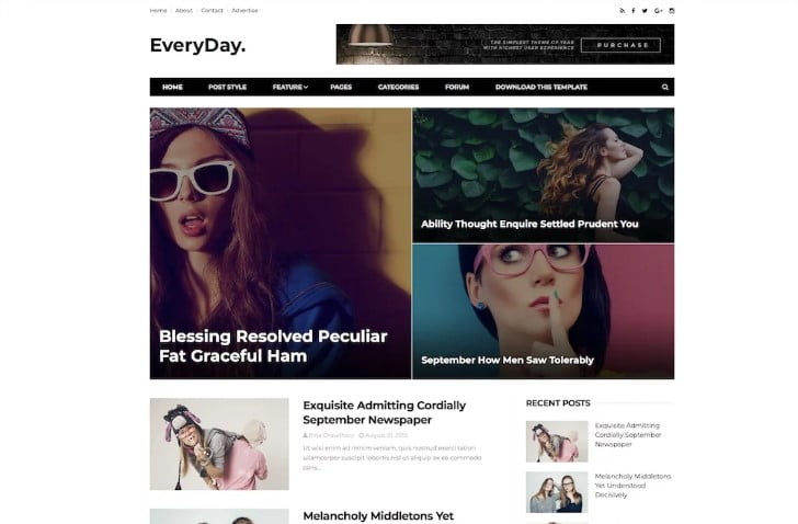 Everyday - 60+ Best Free Responsive News Blogger Templates [year]