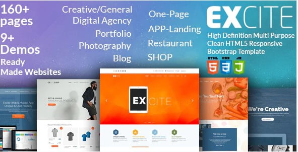 Excite - 35+ Awesome One Page Creative Blogger Template [year]