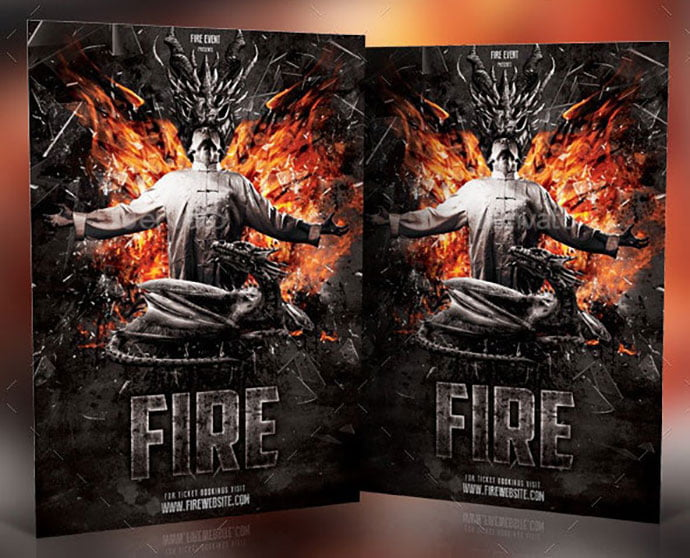 Fire-Photoshop-Template - 35+ Nice PSD Movie Poster Design Templates [year]