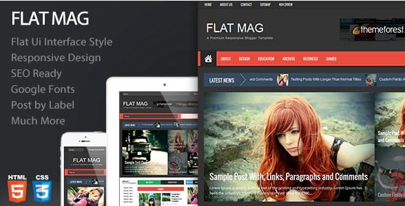 Flat-Mag - 35+ Best Stunning Blogger One Page Template [year]
