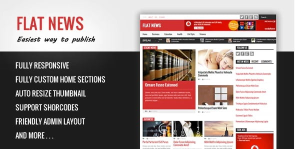 FlatNews - 35+ Amazing One Page Inventive Blogger Template [year]