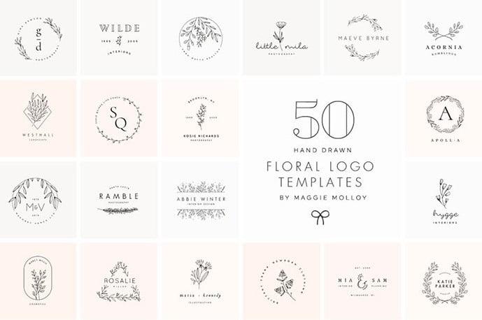 Floral-Hand-Drawn-Logo-Templates - 30+ Amazing Hand Drawn Badge Logo Design Templates [year]