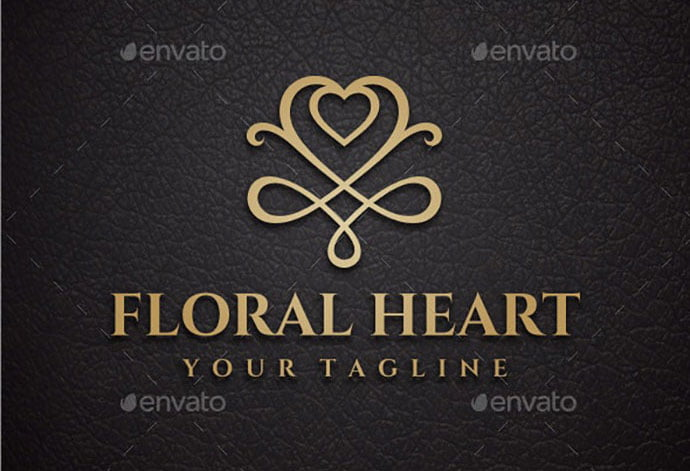 Floral-Heart - 50+ Stunning Beauty Salon Logo Design Templates [year]
