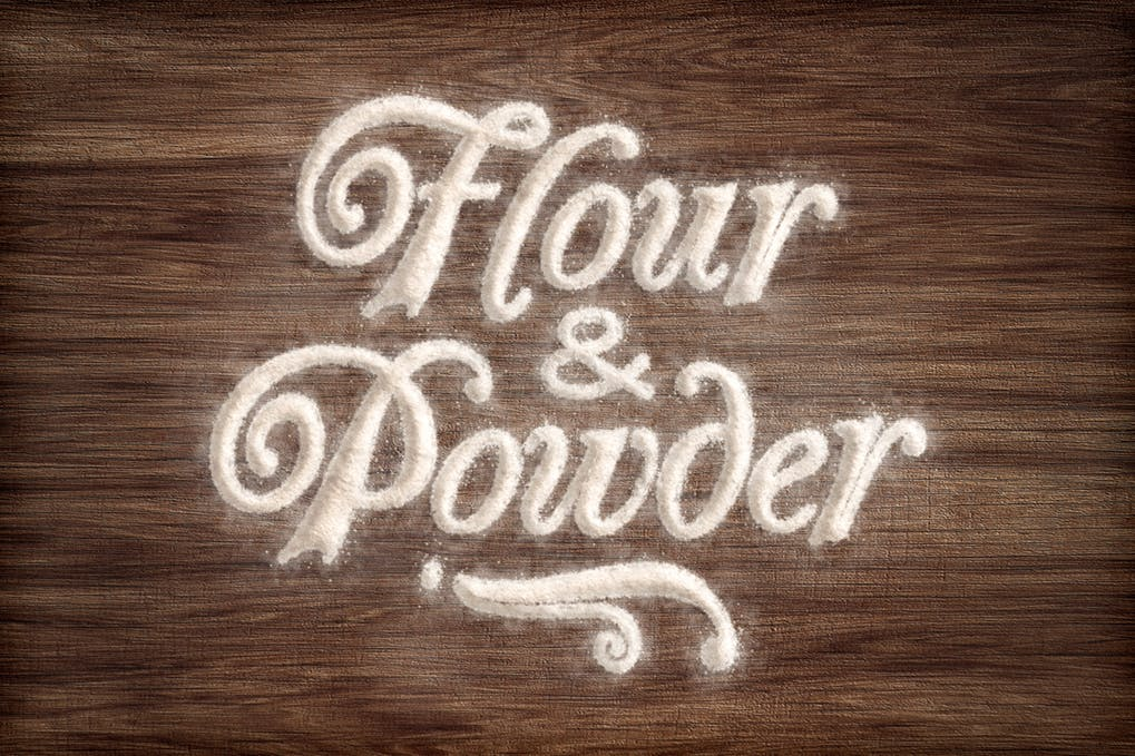 Flour-Powder-Photoshop-Actions - 35+ Tasty Food & Drink Photoshop Text Effects