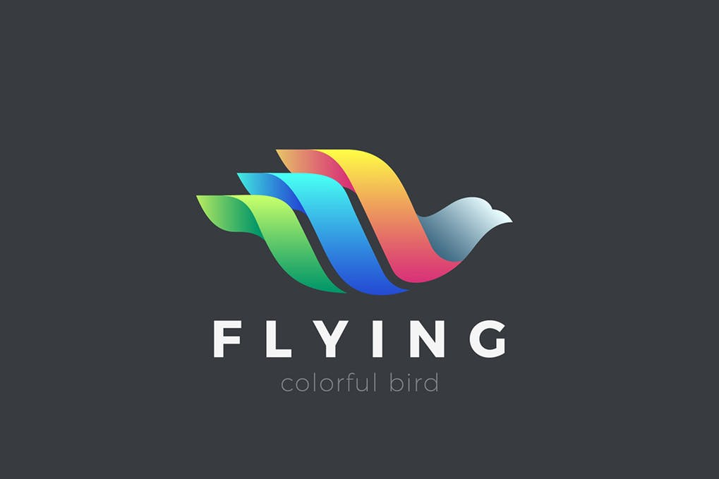 Flying-Bird-Logo-Colorful-Abstract-design - 35+ Glamor 3D Flat Logo Design Templates [year]
