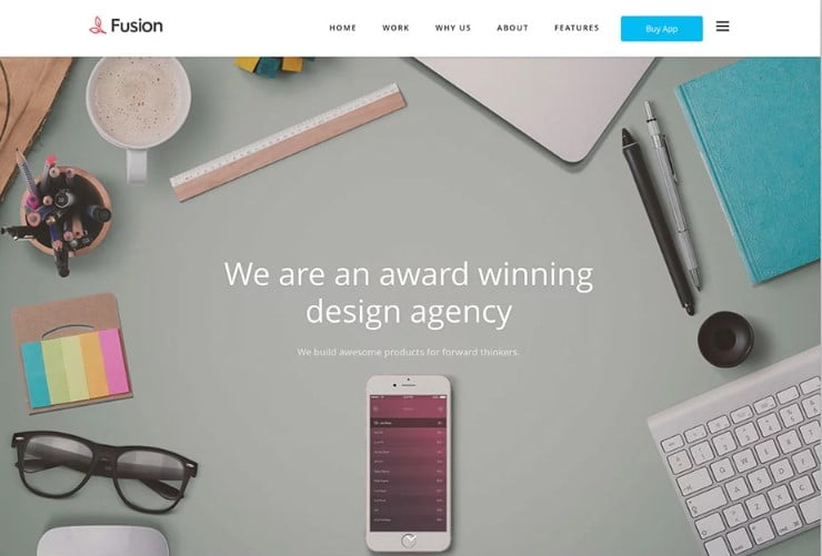 Fusion - 38+ Shiny WordPress Themes for Designers [year]