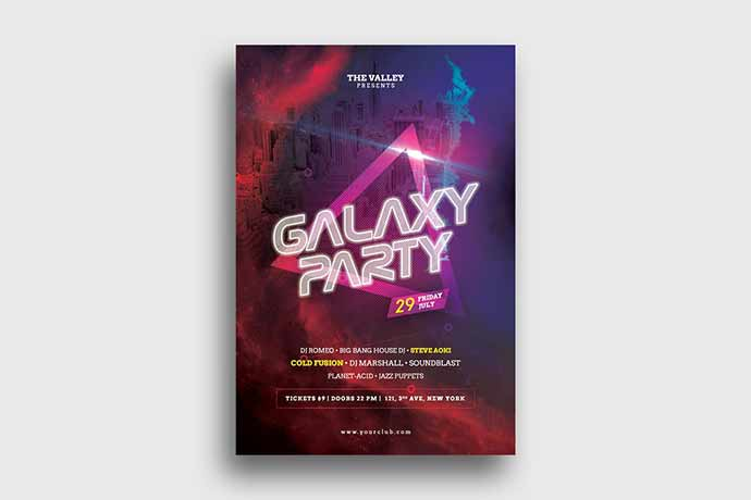Galaxy-Party-Flyer - 35+ Attractive Double Exposure PSD Flyer Design [year]