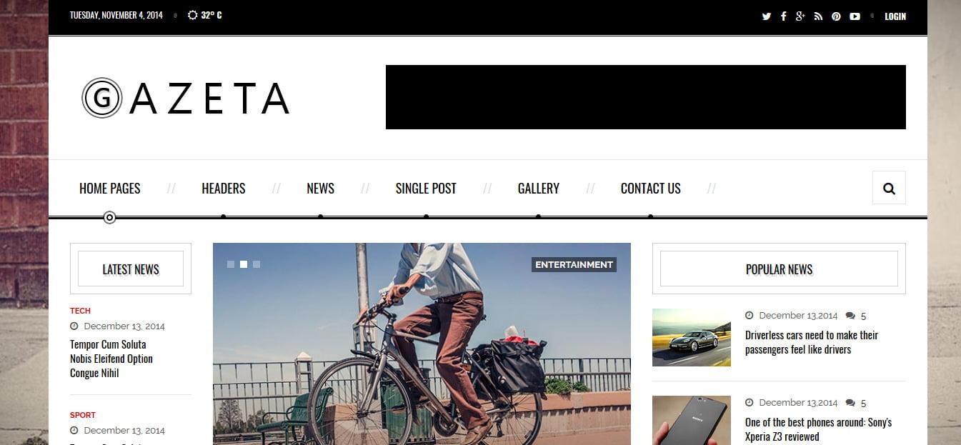 Gazeta - 45+ Responsive News Website Templates [year]