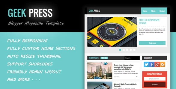 Geek-Press - 35+ Best Stunning Blogger One Page Template [year]