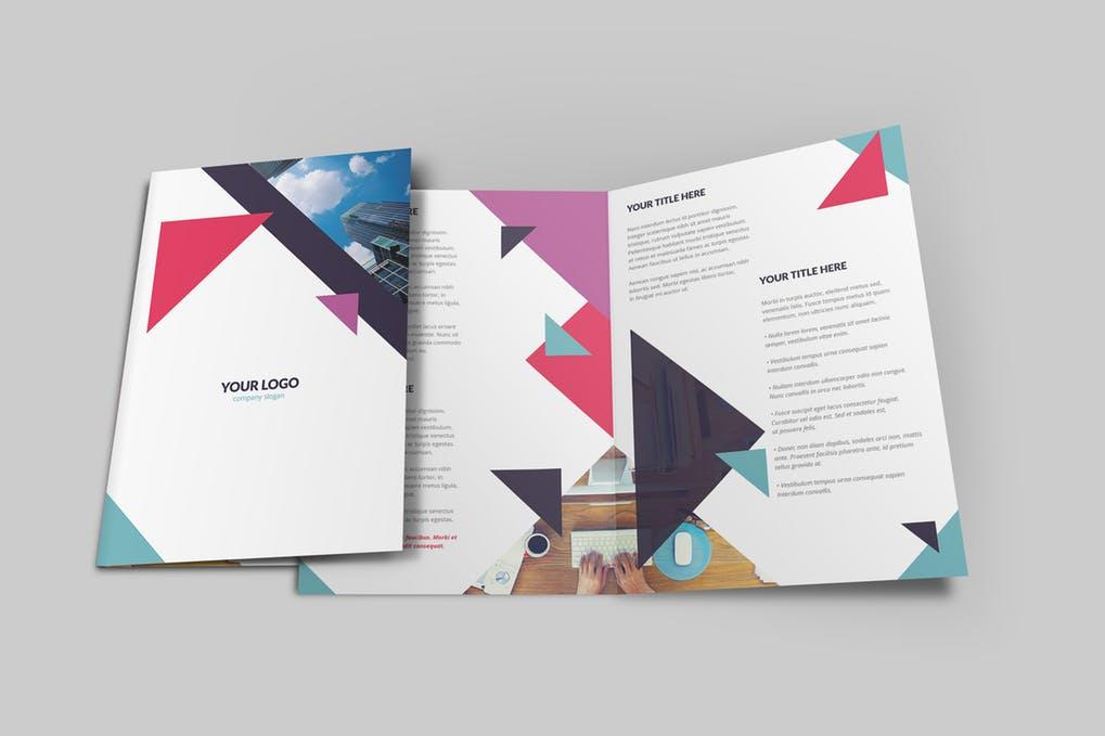 Geometric-Brochure-Bi-Fold - 60+ Bi-fold & Tri-fold Brochure Design Templates [year]