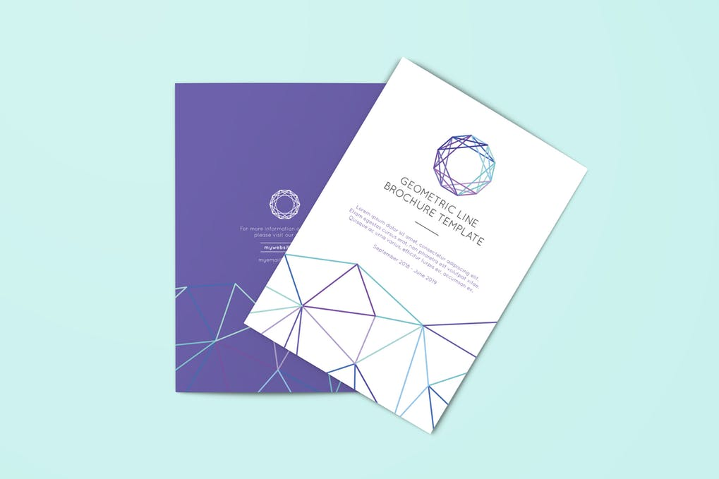 Geometric-Line-Brochure-Template - 60+ Bi-fold & Tri-fold Brochure Design Templates [year]