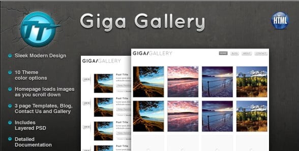Giga-Gallery - 35+ Awesome One Page Creative Blogger Template [year]