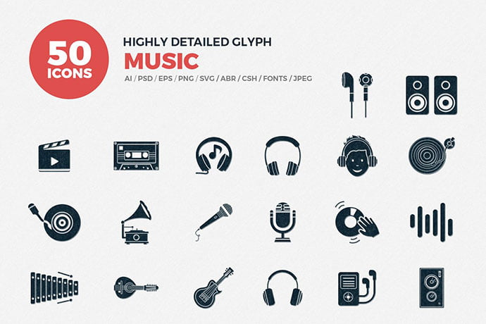 Glyph-Icons-Music-Set - 35+ Best Music & Sound Icon Sets [year]