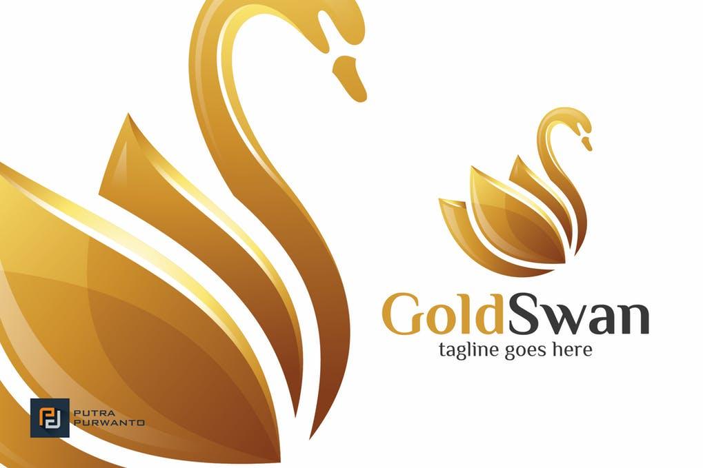 Gold-Swan-Logo-Template - 35+ Glamor 3D Flat Logo Design Templates