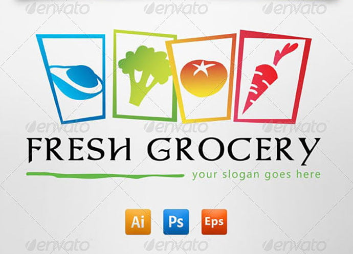 Grocery-Store - 30+ Stunning Fruit & Vegetable Logo Design Templates