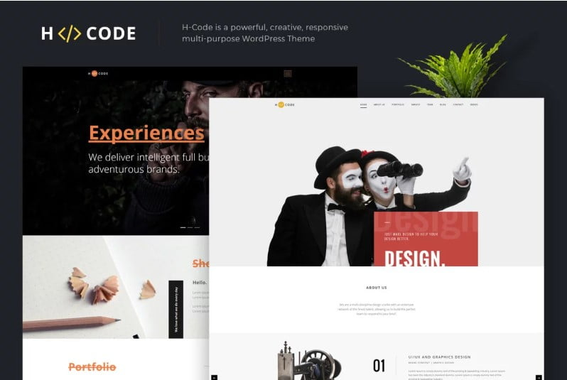 H-Code - 38+ Shiny WordPress Themes for Designers [year]