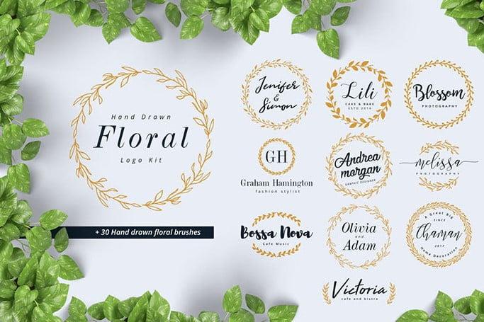 Hand-Drawn-Floral-Logo-Kit - 30+ Amazing Hand Drawn Badge Logo Design Templates [year]