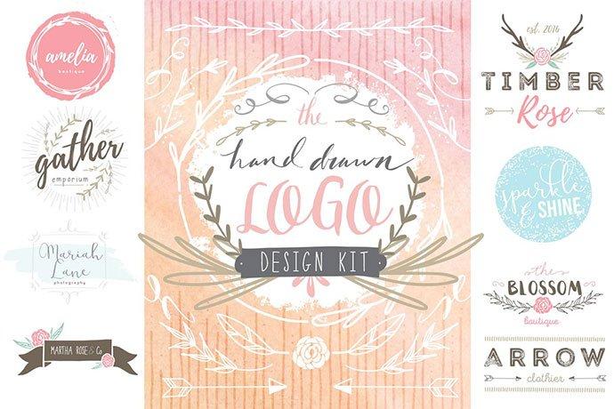 Hand-Drawn-Logo-Design-Kit - 30+ Amazing Hand Drawn Badge Logo Design Templates [year]