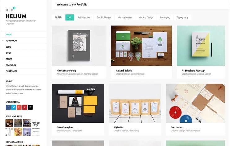Helium - 38+ Shiny WordPress Themes for Designers [year]