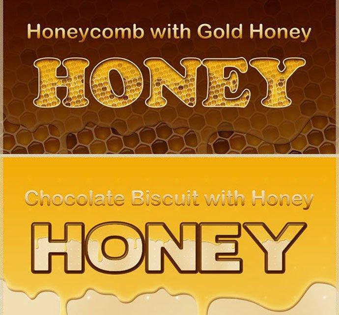 Honey-Photoshop-Styles - 35+ Tasty Food & Drink Photoshop Text Effects