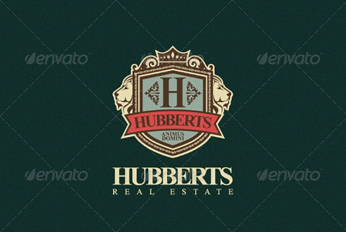 Hubberts-Royal-Crest-Logo - 35+ Amazing Heraldry Logo Design Templates [year]
