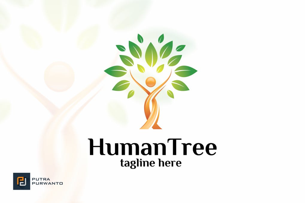 Human-Tree - 60+ Strong Tree Logo Design Templates [year]