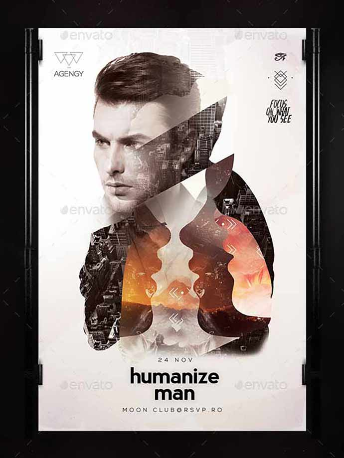 Humanize-Poster - 35+ Attractive Double Exposure PSD Flyer Design [year]