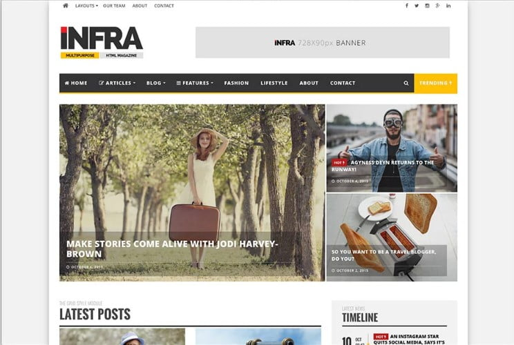 INFRA-1 - 46+ Best WordPress Newspaper Themes for News Sites [year]